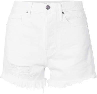 Rigid Re-release Le Original Distressed Denim Shorts - White
