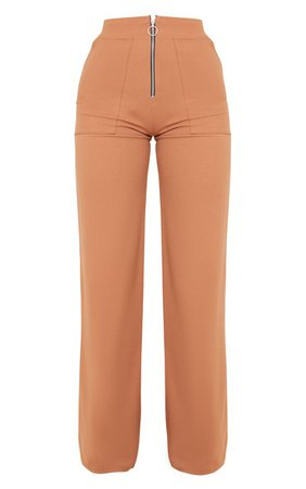 Camel Zip Detail Wide Leg Trousers | Trousers | PrettyLittleThing USA