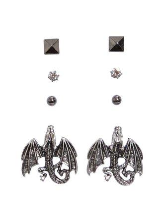 Blackheart Dragon Stud Earrings 4 Pair