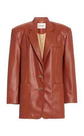 Evan Collared Faux-Leather Blazer By Nanushka | Moda Operandi
