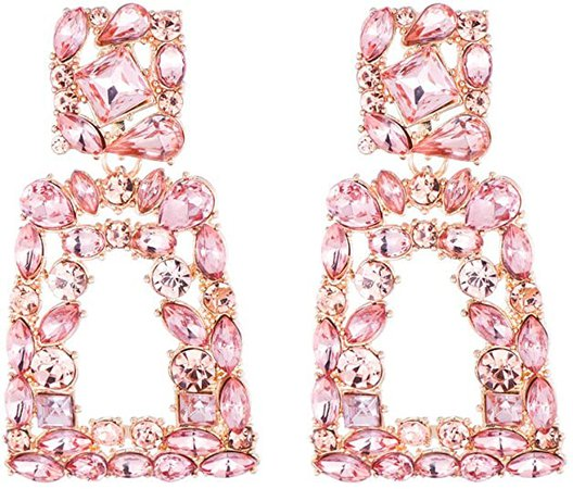 Amazon.com: Rhinestone Rectangle Dangle Earrings for Women Sparkly Crystal Geometric Drop Statement Earrings KELMALL COLLECTION: Clothing