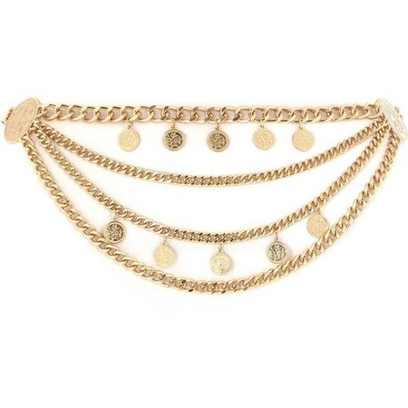 Gold Coin & Chain Waist Belt
