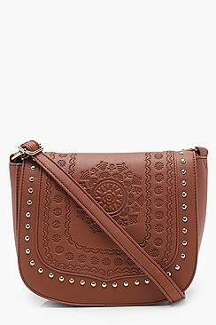 Hannah Boho Stud And Embossed Saddle Bag