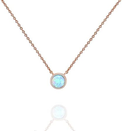 Amazon.com: PAVOI 14K Rose Gold Plated Round Created White Opal Necklace | Opal Necklaces for Women