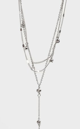 Silver Diamante Drop Layering Necklace   PrettyLittleThing