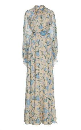 Floral-Print Silk-Chiffon Maxi Dress by Luisa Beccaria | Moda Operandi