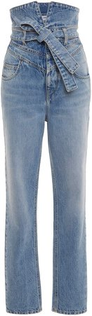 Attico Belted High-Waisted Straight-Leg Jeans
