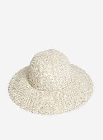 Cream and Gold Lurex Detail Woven Fedora Hat | Dorothy Perkins
