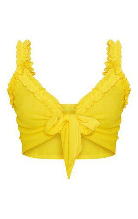 Yellow Rib Ruffle Detail Bralet | Tops | PrettyLittleThing