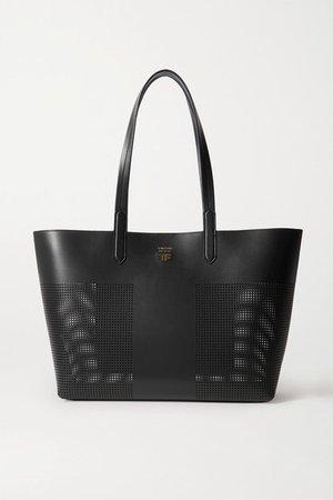 T Medium Perforated Leather Tote - Black