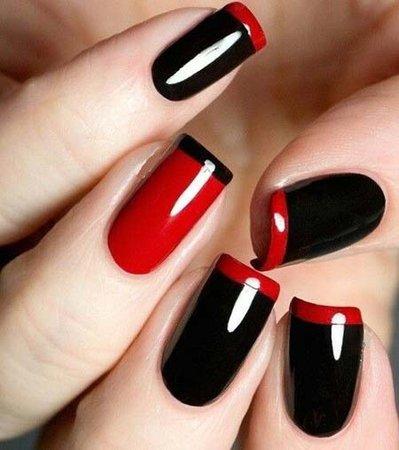 red and black nail polish design