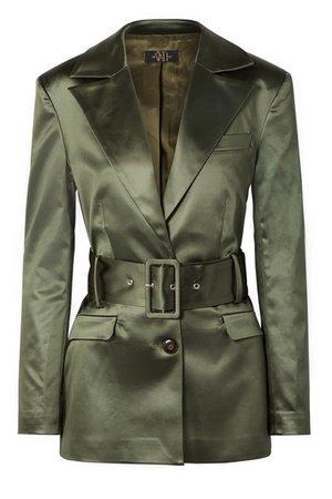 De La Vali   Hawkins belted stretch-satin blazer   NET-A-PORTER.COM