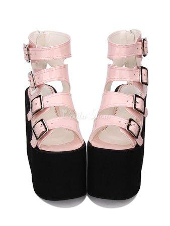 Gothic Lolita Sandal Metallic Buckle Platform PU Black Lolita Footwear - Lolitashow.com