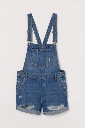 H&M+ Denim Overall Shorts - Blue