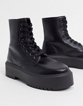 ASOS DESIGN Athens chunky high lace up boots in black   ASOS