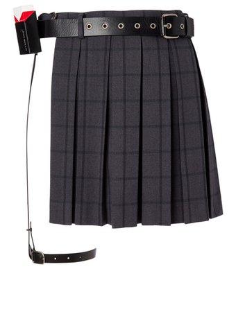 HYEIN SEO Pleated Skirt With Leather Belt | Holt Renfrew