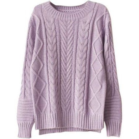 purple cable=knit sweater