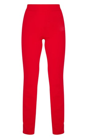 Red Straight Leg Suit Pants | Pants | PrettyLittleThing USA