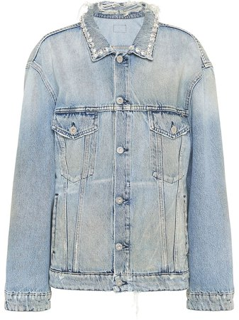 Miu Miu Distressed Denim Jacket - Farfetch