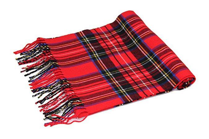 Achillea Scottish Tartan Plaid Cashmere Feel Winter Warm Scarf Unisex (Scottish Black Plaid) at Amazon Women's Clothing store