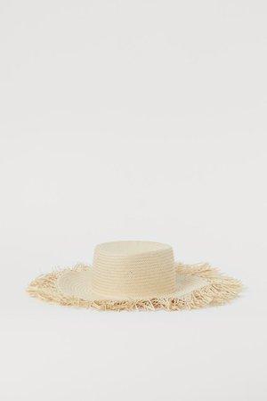 Fringed straw hat - Light beige - Ladies | H&M GB