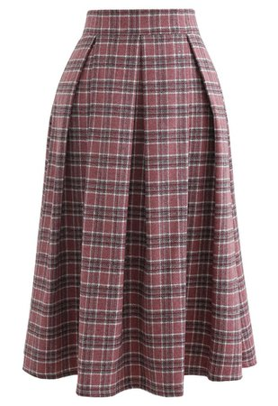 Wool-Blend Pleated Plaid Skirt in Berry - Retro, Indie and Unique Fashion