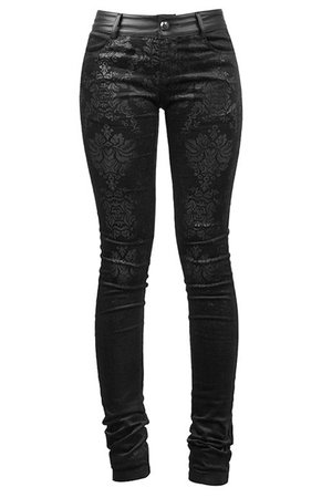 Black Damask Trousers by Punk Rave | Ladies Gothic Clothing