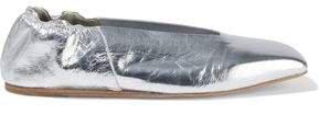 Metallic Crinkled-leather Ballet Flats