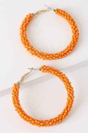 Orange Earrings - Orange Beaded Earrings - Hoop Earrings