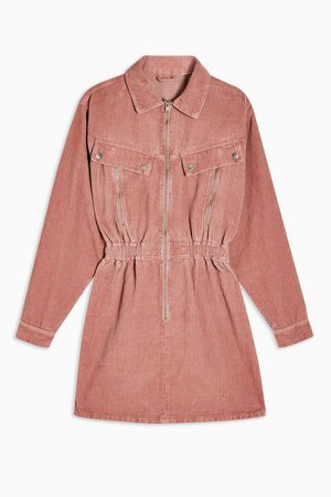 CONSIDERED Pink Corduroy Long Sleeve Zip Shirt Dress With Recycled Cotton | Topshop