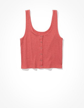 AE Cropped Snap-Front Tank Top pink