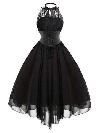 Retro Gothic Victorian Steampunk Dress Womens Lace Lolita Corset Skater Cosplay | eBay