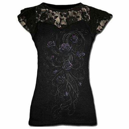Black Lace Rose Top