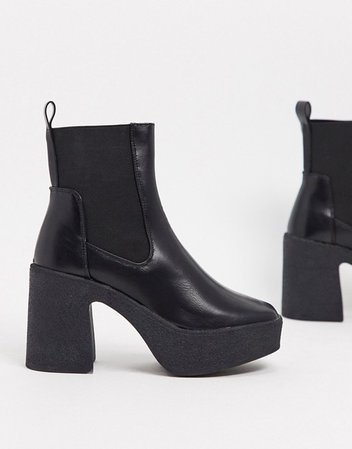 Public Desire Trooper chunky heeled chelsea boots in black | ASOS