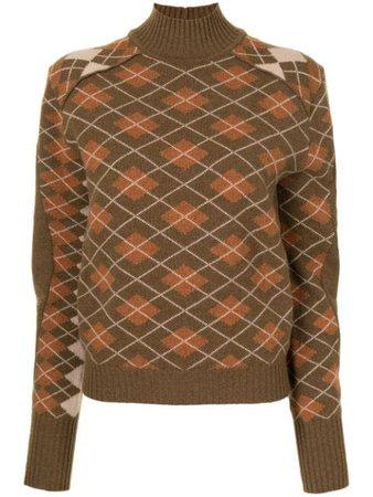 Chloé Turtleneck argyle-knit Wool Jumper - Farfetch