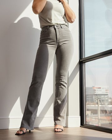 High Waisted Gray Curvy Bootcut Jeans