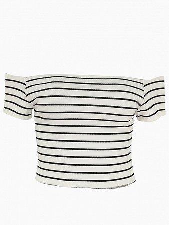 White Stripe Cotton Off Shoulder Chic Women Crop Top | Choies