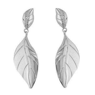 Sterling Silver Leaf Earrings - Offerings Jewelry by Sajen