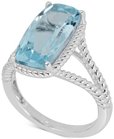 Macy's Sterling Silver Blue Topaz Rope Frame Statement Ring