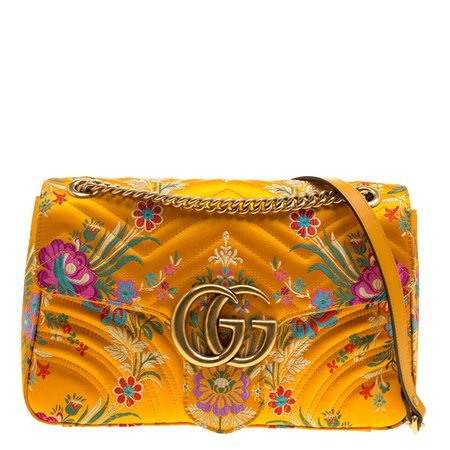 Buy Gucci Yellow Floral Print Satin GG Marmont Shoulder Bag 133111 at best price | TLC