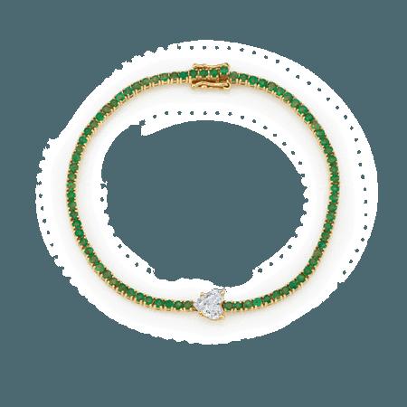 Diamond Heart Emerald Tennis Bracelet, The Last Line
