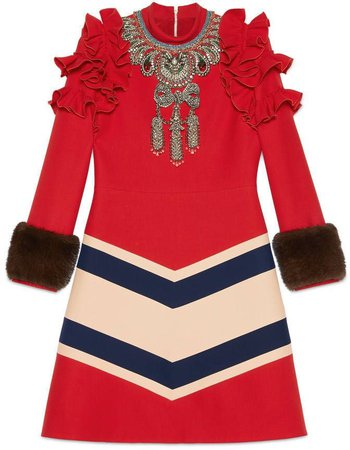 GUCCI Wool silk red embroider gown