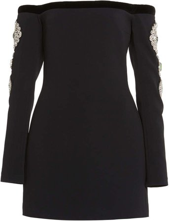 David Koma Velvet Off The Shoulder Mini Dress