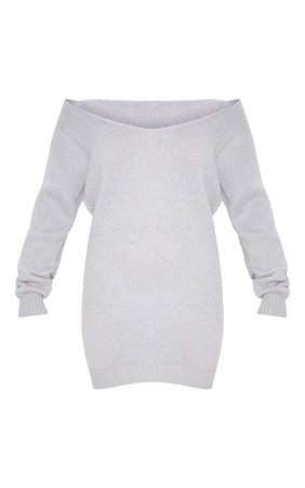 Light Grey Soft Knitted Off Shoulder Mini Dress | PrettyLittleThing