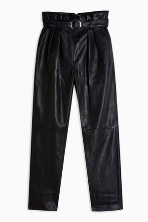 Black Faux Leather PU Belted Peg Trousers | Topshop