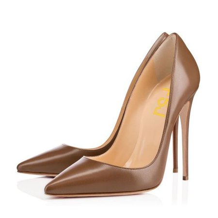 Brown Vegan High Heels Office Shoes Pointy Toe Stiletto Heel Pumps