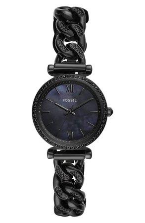 Fossil Carlie T-Bar Crystal Bracelet Watch, 28mm