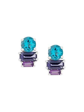 Daou 18Kt White Gold Topaz Morning Light Earrings SUNSETSUNRISEBLUETOPAZEARRINGS Blue   Farfetch