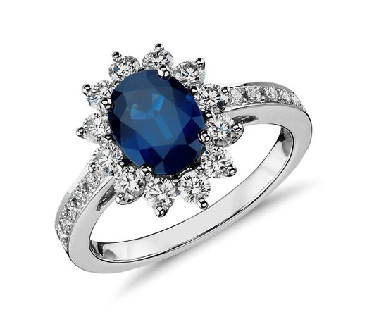 Oval Sapphire and Diamond Ring in 18k White Gold (8x6mm)   Blue Nile