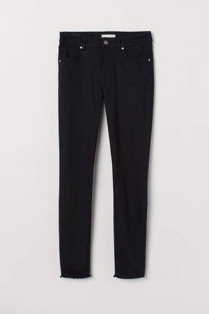 Cropped Twill Pants - Black